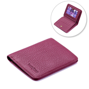 Women's folding soft leather wallet small wallet (Light purple color)