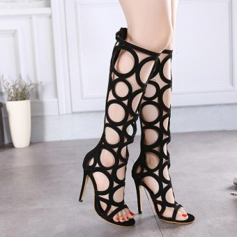 Women's High Heels Korean Sandals with Cut Out Black - intl