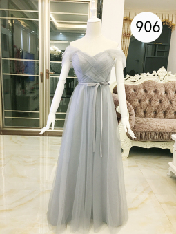 Women's Korean-style Boat Neck Maxi Evening Dress - Grey (Gray (906 long off-the-shoulder))
