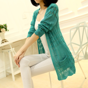 Women's Korean-style Cutout Knitted Long Cardigan (Green)