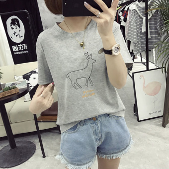 Women's Korean-style Embroidery Short Sleeve Short T-Shirt (Light gray color)