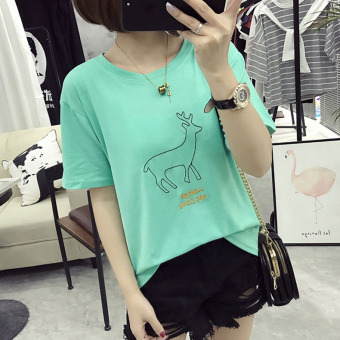 Women's Korean-style Embroidery Short Sleeve Short T-Shirt (Mint Green)