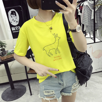 Women's Korean-style Embroidery Short Sleeve Short T-Shirt (Yellow)