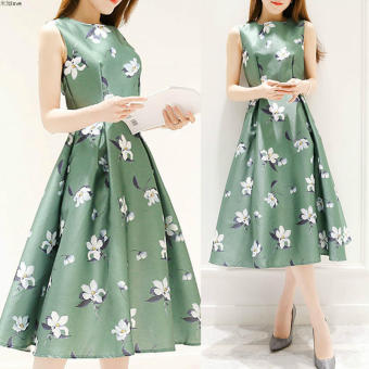 Women's Korean-style Floral Tunic Sleeveless Midi Dress (Green)