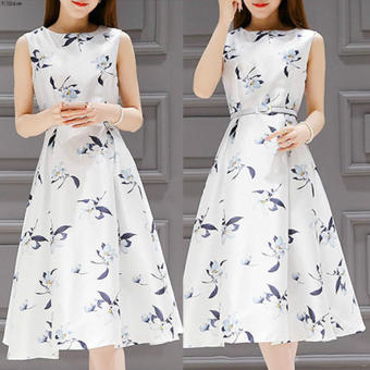 Women's Korean-style Floral Tunic Sleeveless Midi Dress (White)
