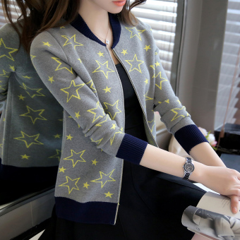 Women's Korean-style Knitted Long Sleeve Short Cardigan (Gray)