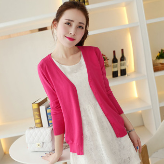 Women's Korean-style Knitted Short Cardigan (Rose)
