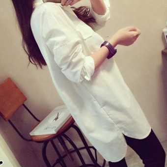Women's Korean-style Loose Long Sleeve Mid Length Shirt - White
