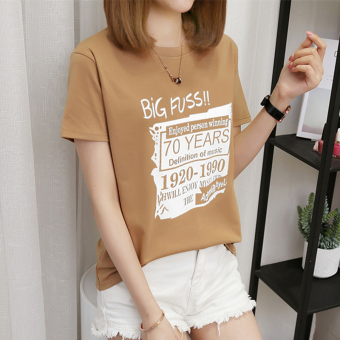 Women's Korean-style Plus Size Slimming Short Sleeve T-Shirt (218-70 English-casual)