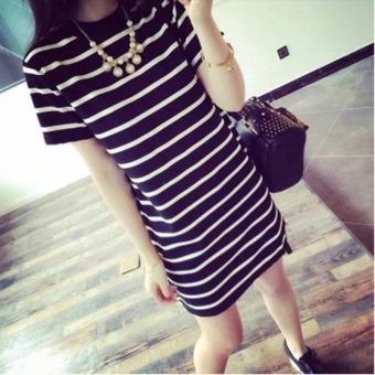 Women's Korean-style Slim Fit Striped Short Sleeve Mid Length T-Shirt (Black striped)