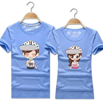 Women's Korean-style Slimming Print Round Neck Short Sleeve Solid Color T-Shirt (Denim blue)
