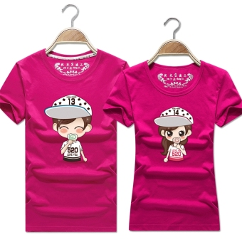 Women's Korean-style Slimming Print Round Neck Short Sleeve Solid Color T-Shirt (Rose color)