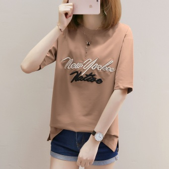 Women's Korean-style Stylish Embroidery Short Sleeve T-Shirt (735 * Casual)