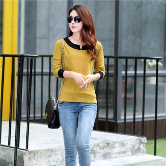 Women's Korean-style V-Neck Cotton Long Sleeve Loose T-Shirt (Light yellow)