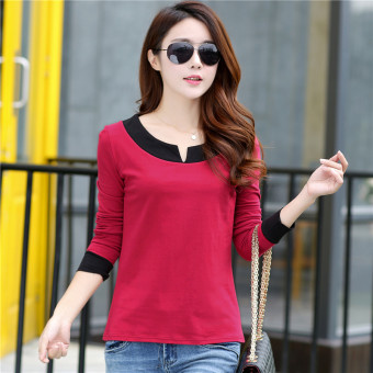 Women's Korean-style V-Neck Cotton Long Sleeve Loose T-Shirt (Red)