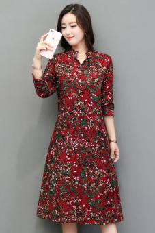 Women's Linen Print Plus Size Long Sleeve Dress - Red - Green (Red)
