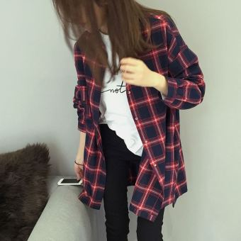 Women's Loose Red Blue Plaid Collar Long Sleeve Mid Length Shirt