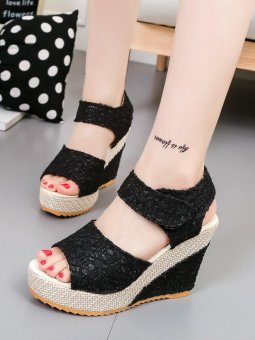 Women's Sandals Wedge Heel Peep Toe Platform Shoes (Black) - intl
