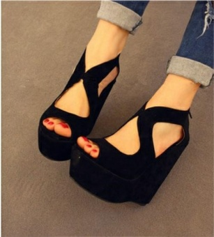 Women's Sexy Suede Upper Peep Toe High Platform Heeled Sandals (Black) - intl