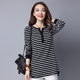 Women's Slim Fit Striped V-Neck Long Sleeve T-Shirt (Black and white strip)