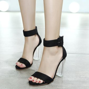 Women's Square Heel Sandals Japanese High Heels Black - intl