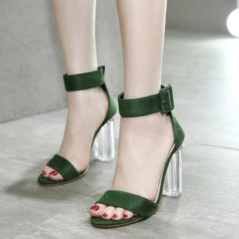 Women's Square Heel Sandals Japanese High Heels Green - intl