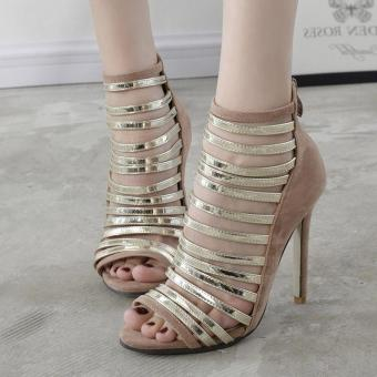 Women's Stiletto High Heels London Party Sandals Apricot - intl