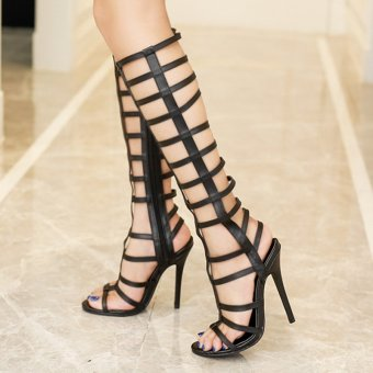 Women's Stiletto Sandals European High Heels with Cut Out Black