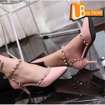 Women's Summer Fashion High-heeled Shoes Block Heels Toe Suede A-Line Straps Formal Leather Lady Shallow Mouth Heel Sandals(Pink) - intl