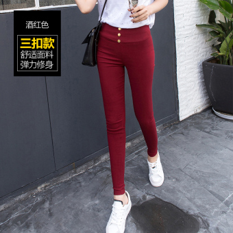 Women's Thin High Waist Skinny Tight Pants Color Varies (Button sewing version of wine red color)