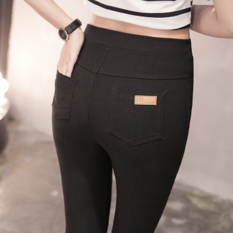 Women's Thin High Waist Stretch Cropped Skinny Pants - Black
