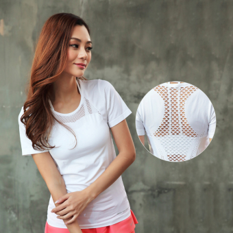 Women's Yoga Cutout Splice Short Sleeve Shirt (White T-shirt-TX319)