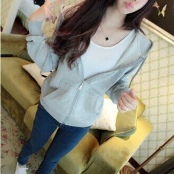 Women's Zipper Cardigan Solid Color Hoodie (Gray-color)