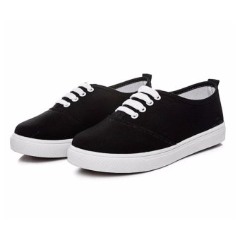 Women's Canvas Rubber Sneaker with Lace - Black