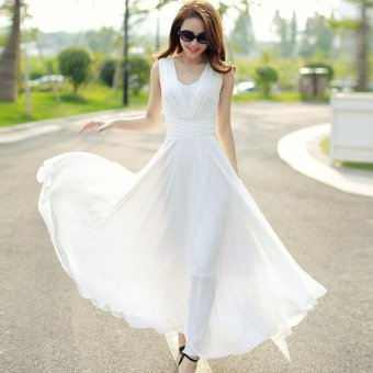 Women's Cute Style Bohemian Dress 2017 New Summer Fashion Long SlimSleeveless Solid Beach Dresses (White) - intl