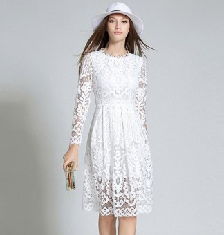 Womens Elegant boho Sexy Lace Casual Dress Long sleeves A-LineParty Dresses Vestido White - intl