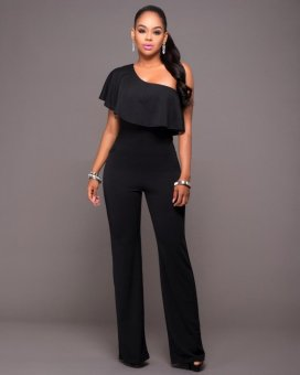 Women's Jumpsuits One Shoulder Solid Color Brief Design (Black) -intl