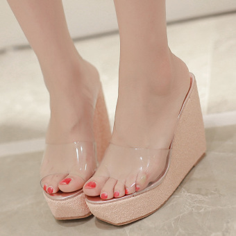Womens Open Toe Wedge PU Casual Sandals with Sequined Pink - intl