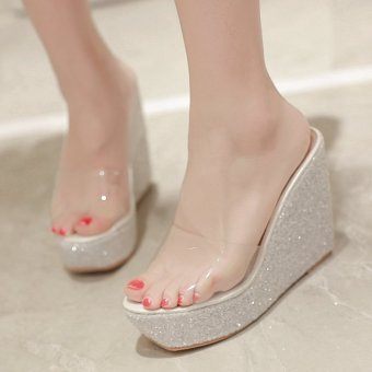 Womens Open Toe Wedge PU Casual Sandals with Sequined White - intl