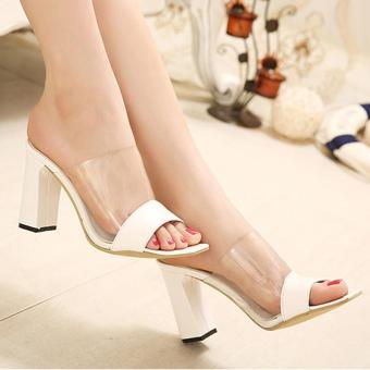 Women's Peep Toe Square Heel High Heels Slim Party Slippers White -intl