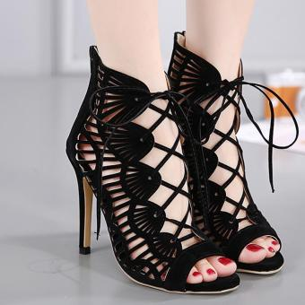 Women's Peep Toe Stiletto High Heels Slim Party Shoes with Cut Out- intl