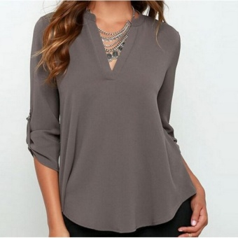 Women's Spring Summer Autumn Fashion Casual Plus Size Tops Lady'sV-neck Long Sleeve Loose Roll-up sleeve Blouse (Grey) - intl