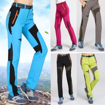 Women's Super Quality Elastic Waistband Pants for Climbing HikingFishing Trekking Camping(Blue) - intl