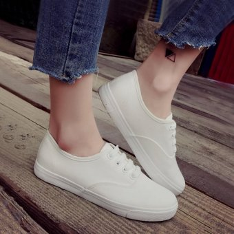 Women's White Sneakers with Lace - White