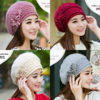 Wonderful Power 5 color Brand New Flower Knit Crochet Beanie Hat Winter Womens Beret Warm Cap