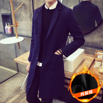 Woolen solid color autumn men coat (F18 dark blue color thick)