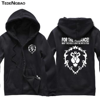 World of Warcraft zip-up hooded jacket game hoodie Black