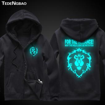 World of Warcraft zip-up hooded jacket game hoodie Blue glow in the dark