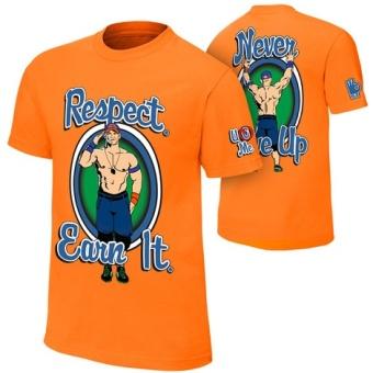 Wrestling john seth sr rollins cena Respect. Earn It. orange men's t-shirt - intl