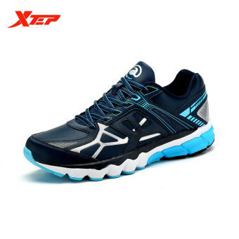 XTEP Brand Professional Running Shoes 2016 Men Sports Shoes Damping Cushioning Trail Runner Athletic Wide Sneakers (Blue)